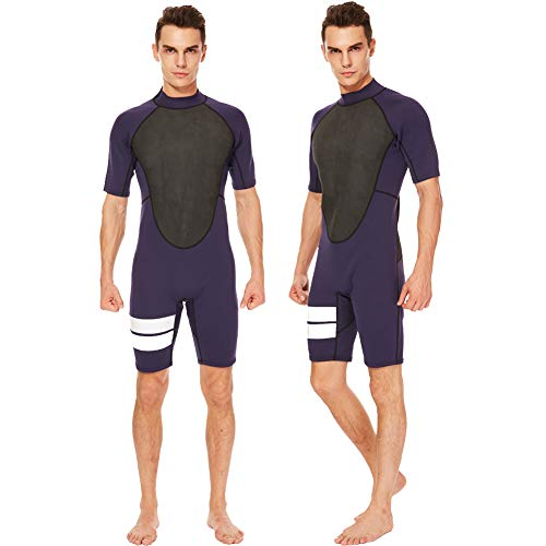 Realon Shorty Wetsuit Men 3mm Surfing Suit Diving Snorkeling Swimming Jumpsuit (2mm Shorty Navy, 3X-Large)
