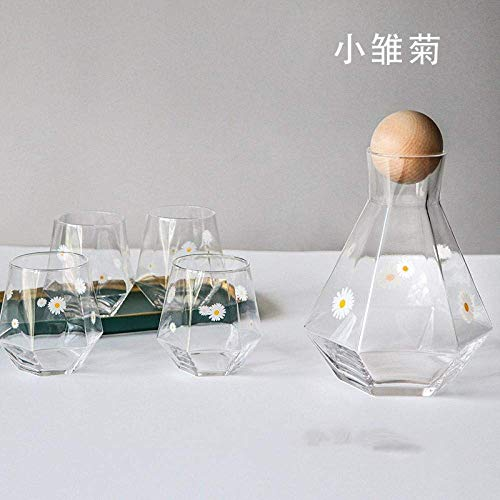XinMeiMaoYi Creative Small Daisy - Juego de botellas de agua fría de seis caras pequeñas y frescas de gran capacidad, geométricas hexagonales de agua fría, taza de jugo, taza de madera