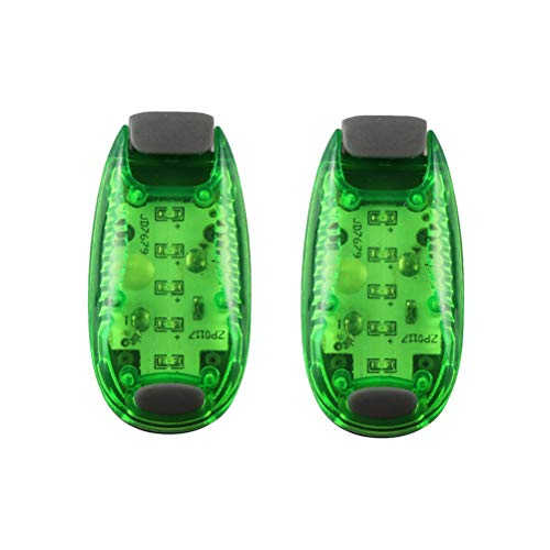 ABOOFAN 2 Stück 5 LED Sicherheitslicht Multifuntionale Clip On Stroboskop-Lauflichter für Nachtläufer/Fahrräder, Grün