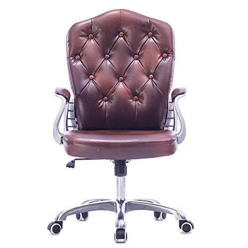Bureaustoel, computerstoel Home Bruine lederen gesp BüRo Student Lifting draaistoel Boss stoel stoel