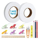 2 Pack 140 Yards Fabric Fusing Tape 15 & 20 mm, Iron-on Fusible Hemming Fusing Wonder Web Tape for Clothes with 5 PCS Sewing Clips