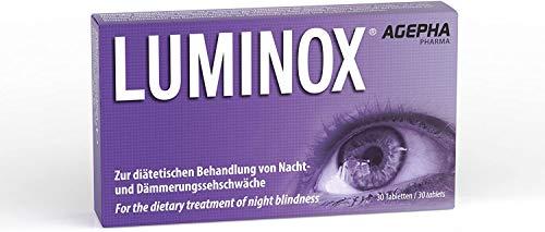 Luminox® AGEPHA 30 Augen-Vitamine Verbessern Nachtsicht, Augen und Sehkraft mit Ginkgo, Guarana, Acai, Bilberry Gegen Sehschwäche und Nachtblindheit