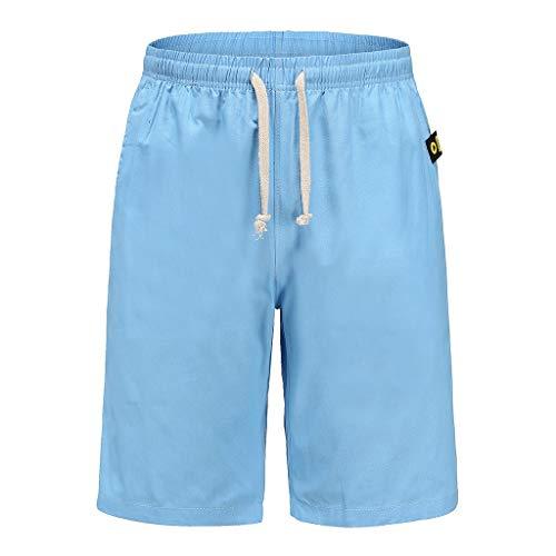 Momoxi Herren einfarbig Home Loose Kordelzug Sport Casual Fünf-Punkte-Hose Strandhose Blau 5XL Badehose Herren Borat Anzug bademode Damen Sporthose Damen Bikini kaufen