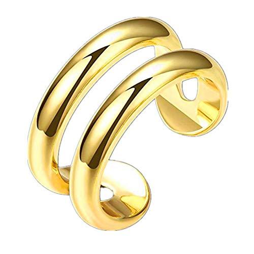 FJYOURIA Anillo para mujer, chapado en oro de 18 quilates, doble línea, anillo de dedo para el pulgar, anillo midi para nudillos, talla 1/2 N, talla 7 (oro amarillo de 18 quilates)