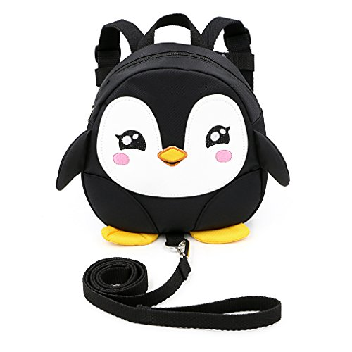 IGNPION Toddle Children Backpack with Reins Rucksack Harness Walkers Tether Belt Penguin (Black)