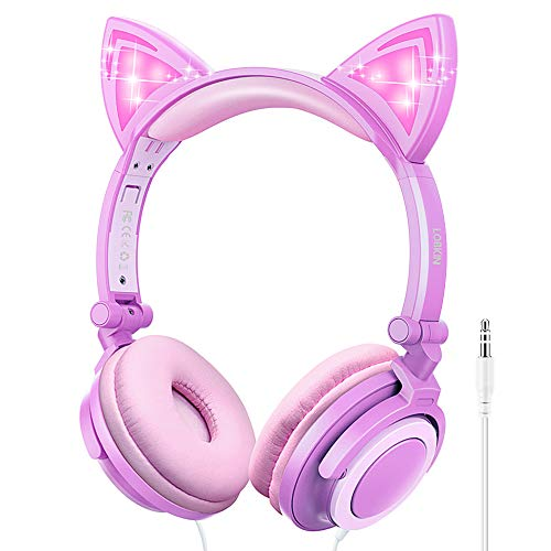 LOBKIN Mädchen Kinder Kopfhörer, Faltbares Leicht-Kopfhörer für Kinder, Katzenohr Kopfhörer mit 3,5mm Audio Kable für Smartphone, Tablet, IPad, Laptop, Computer, MP3/4 (Purple+Pink)