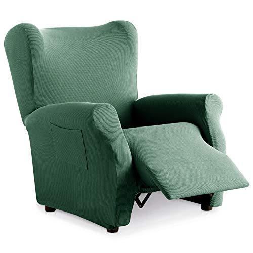 Eiffel Textile Funda Sillon Elastica Protector Adaptable Rústica Relax, 94% Poliéster, Verde