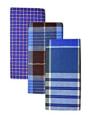 BlueDenim 100% Pure Cotton Lungis for Men, Set of 3 (Multi Colour)||Assorted Checks or Colors