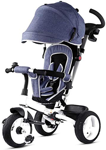 %17 OFF! HUJPI Kids Tricycles, Kids Trike Bike with Canopy Toddler Tricycles with Pushing Handle Bab...