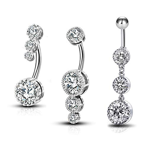 OUFER 3PCS Belly Button Rings Clear CZ 316L Surgical Steel Belly Rings Dangle Navel Rings Belly Rings Belly Piercing Jewelry