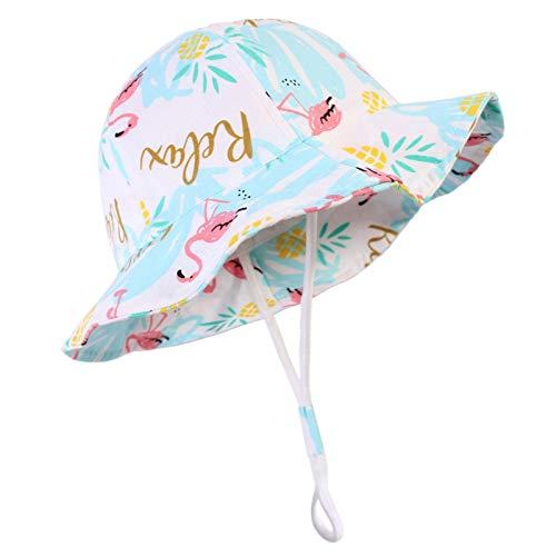 heresell Sombrero de sol para bebé, gorro de playa con correa ajustable y ala ancha, de algodón, unisex, para niños, protección solar, cubo para bebés, niñas y niños