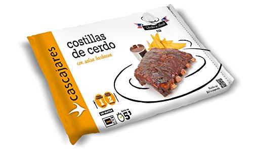 CASCAJARES - Costillas de Cerdo con salsa barbacoa, perfecto para una o dos personas, calentar en horno o microondas. Sin gluten.