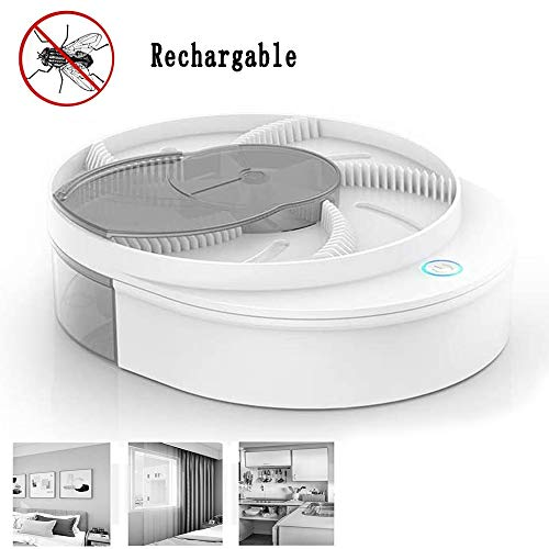 YTYASO 2020 New Automatic Electric Fly Trap Device, Portable USB Fly Mosquito Bug Trap with Trapping, Killer Fly Trap Catcher for Indoor Home Hotel Restaurant Trapping (White)