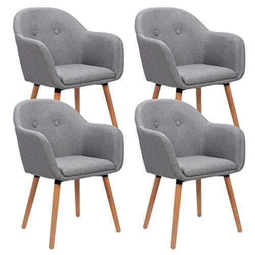 WOLTU 4 x Esszimmerstühle 4er Set Esszimmerstuhl Küchenstuhl Polsterstuhl Design Stuhl mit Armlehne, mit Sitzfläche aus Leinen, Gestell aus Massivholz, Hellgrau BH94hgr-4