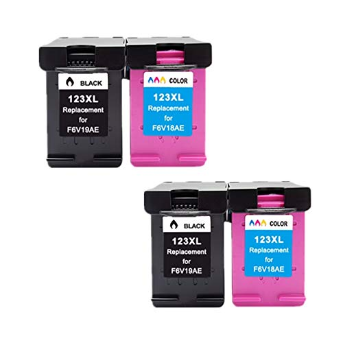 LIUYB For HP123XL Tinta 123XL Cartucho Compatible for HP123 for HP Deskjet 2130 2132 3630 1110 3632 4520 5010 5020 5030 Impresora (Color : 2Black 2Color)