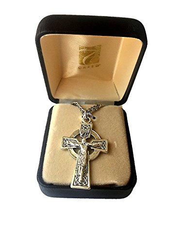 Elysian Gift Shop Silver Heritage Collection 1-5/8' Irish Celtic Cross Necklace for Men with 24' L Oxidized Silver Plate Chain and Celtic Crucifix