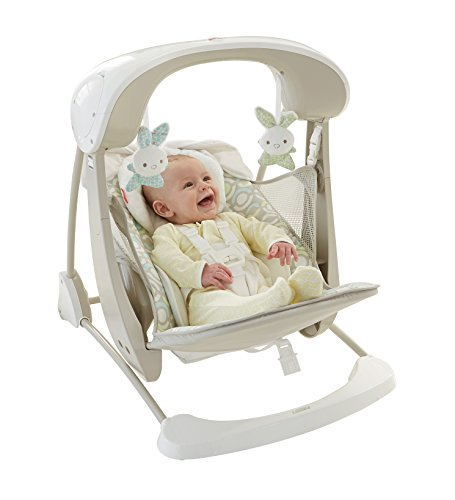 Mattel Fisher-Price DKD86 Deluxe 2-in-1 Babyschaukel kompakt, beige