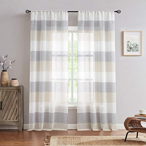 """Central Park Gray Tan Stripe Sheer Color Block Window Curtain Panel Linen Window Treatment for Bedroom Living Room Farmhouse 84 inches Long Rod Pocket, 2 Panel Rustic Drapes, 40""""x84""""x2"""