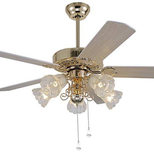Ventilateurs de Plafond avec Lampe intégrée Éclairage De Ventilateur De Plafond Télécommande À LED, Éclairage De Ventilateur De Plafond Lumière Dorée De Ventilateur De Plafond Salon avec Éclairage De