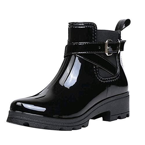 Yowablo Regenstiefel Damen Herbst/Winter Gummistiefel Mode Kurze Stiefel Regen Stiefel rutschfeste Schuhe Gummiband Wasser Schuhe (37 EU,1- Schwarz)