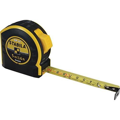 STABILA Taschenbandmaß BM 40, 5 m / 16 ft, mit doppelseitiger Skala und Spikes-Haken