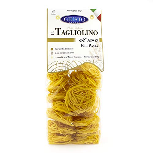 Giusto Sapore Classic Tagliolini All Vovo Italian Egg Pasta Nest - 340g - Premium Bronze Drawn Durum Wheat Semolina Gourmet Pasta Noodles - Imported from Italy and Family Owned (Tagliolino, 1 Pack)