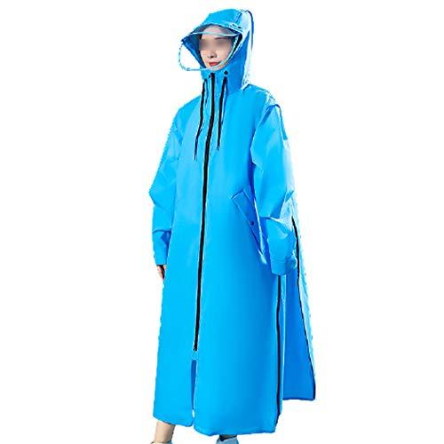 Regenjas Dames Transparant Lang Full Body Herenmode Fietsen Enkele Regenbui-Proof Elektrische Batterij Zelf-Heren Regenjas Verdikking Poncho,Blue,L