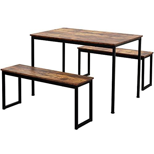 LIZONGFQ Juego de mesa de comedor y 2 bancos, para 4 personas que ahorra espacio para cocina, patio, exterior, madera maciza y marco de metal resistente, color marrón rústico