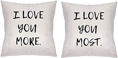 2 fundas de almohada para novio novio novio, esposa, amante de la pareja, con texto en inglés 'I Love You More I Love You Most.Throw fundas de almohada, decoración del sofá del hogar 40,6 x 40,6 cm