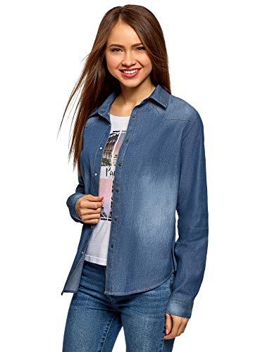 oodji Ultra Mujer Camisa Vaquera con Botones a Presión, Azul, ES 38 / S