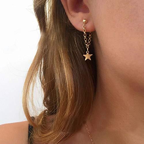 TseenYi Pendientes de cadena de estrella de oro, pendientes de estrella, cadena de orejas, para mujeres y niñas