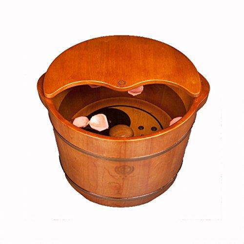 Bains de Pieds Massage Pied Baignoire avec Couvercle Seau Bois Pied Spa Adulte Enfant Kid Bain De Pieds 36x27cm
