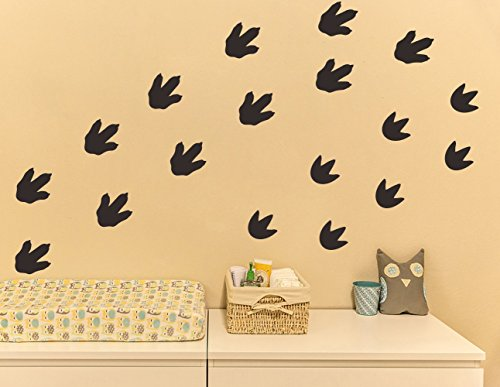 Mozamy Creative Dinosaur Footprints Wall Decals (32 Count) Dinosaur Wall Decals Dinosaur Tracks Decals Removable Peel and Stick Wall Decals, Matte Black