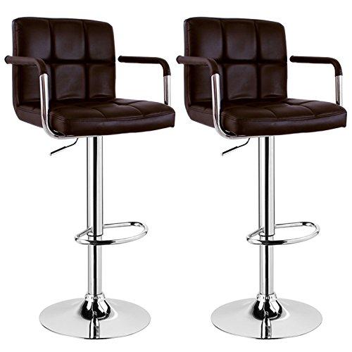 WOLTU BH16 Serie Design Barhocker mit Armlehne, 2er Set, stufenlose Höhenverstellung, verchromter Stahl, Antirutschgummi, pflegeleichter Kunstleder, gut gepolsterte Sitzfläche (Braun)