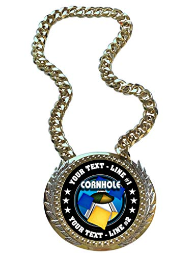 Express Medals Metal Version Cornhole Bag Toss Champ Chain Trophy with 2 Lines of Personalized Custom Text on a Large Championship Award Medal and Attached 34 inch Long Metal Neck Chain. FCL455