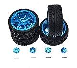Metal Rims & Wheel Tyres & Hex Adapters for 1/18 WLtoys RC Car A959-B A979-B A959 A969 Aluminum Upgrade Parts Full Set(Blue)