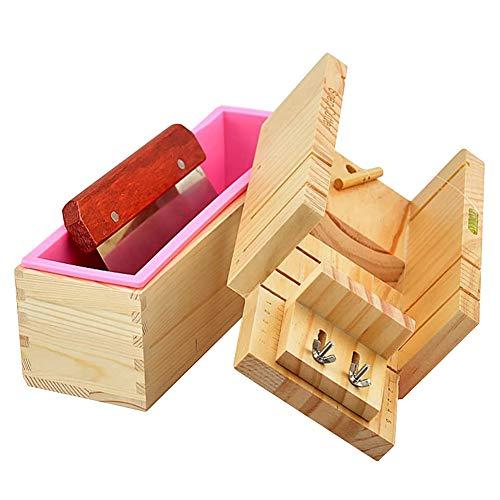 Jabón moldes de jabón máquina de Cortar Sistema de la Caja de Madera Ajustable Pink Herramientas de moldes de Bricolaje de Navidad para la Toma de 3pcs