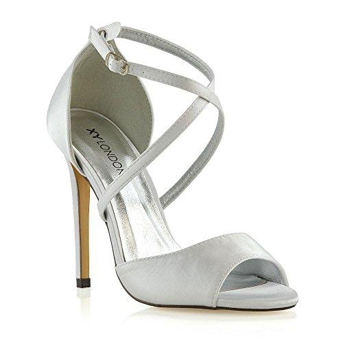 ESSEX GLAM Donna Tacco a Spillo Cinturino alla Caviglia Sandali Le Signore Nuziale Scarpe (37 EU, Bianco Satin)