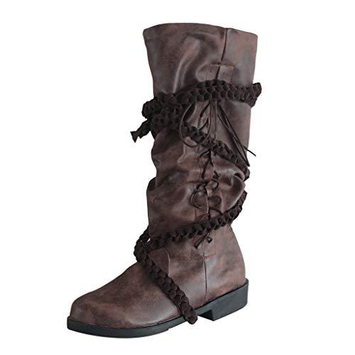 TWISFER Unisex Damen Herren Stiefeletten Worker Boots Leder Kreuzriemen Kniehohe Schuhe Cowboy Schnürstiefel mit Niedrigen Absätzen Retro Schuhe komfortabel Lange Ritterstiefel
