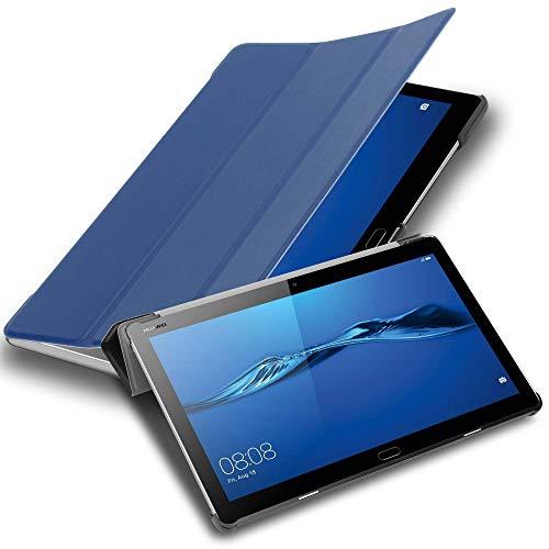 """Cadorabo Tablet Hülle für Huawei MediaPad M3 LITE 10 (10"""" Zoll) in Jersey DUNKEL BLAU – Ultra Dünne Book Style Schutzhülle mit Auto Wake Up und Standfunktion aus Kunstleder"""