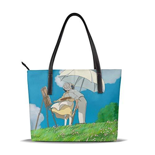 The Wind Rises Tote Bag for Women Leather Zipper Handbags,Big Caity Waterproof Durable Inside 1 Zipper Poet Suitable