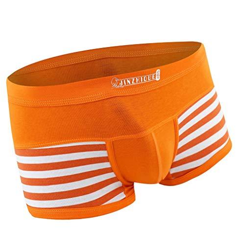 Skxinn Boxer Boxershorts Herren Unterwäsche sportliche Retro Pants Mode Streifenmuster Atmungsaktiv Bequem Shorts Unterhosen Sexy Briefs Underwear M-3XL(Orange,X-Large)
