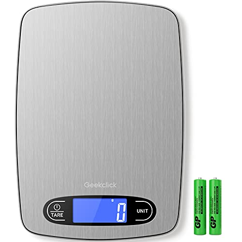 Geekclick Food Scale, Kitchen Scale Digital Weight Grams and oz, Food Weight Scale for Weight Loss, Cooking, Baking and Meal Prep, Measuring Tools 1g 0.05oz Precise Graduation, Sleek Stainless Steel