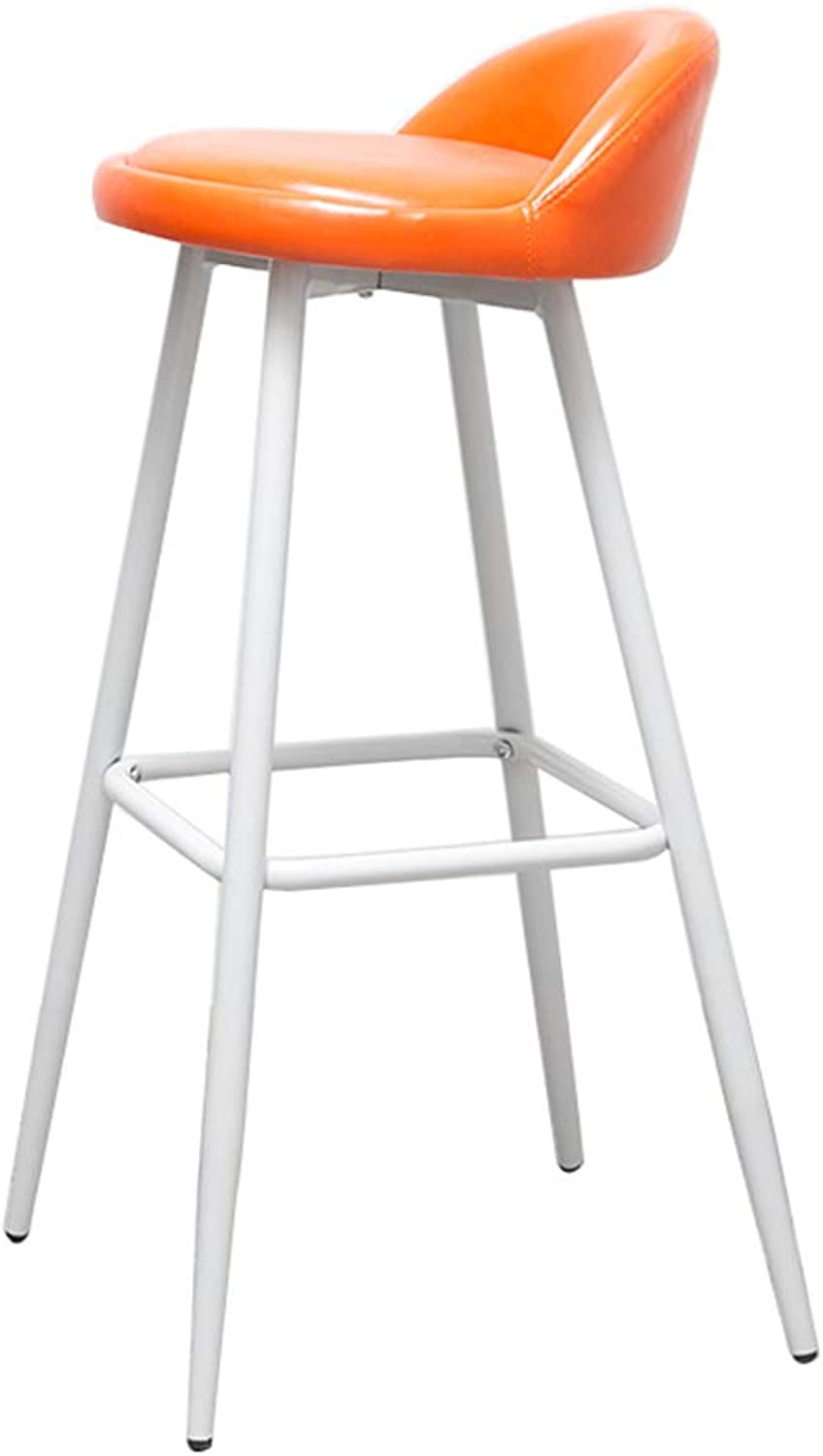 SYF Barstool Modern Fashion White Metal Legs Bar Chair Bar Stool Furniture Kitchen Bench orange PU Cushion Design Sitting High 79CM A+