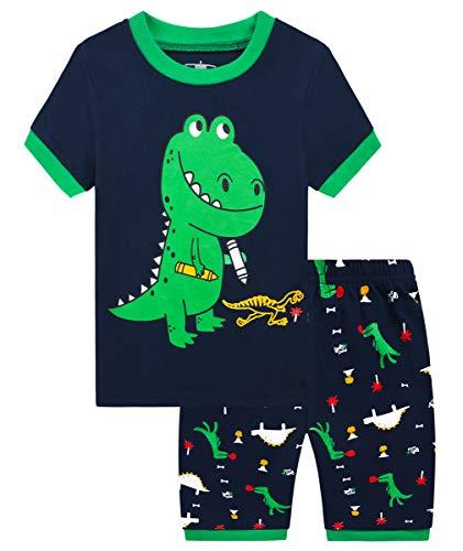 Mixidon Pijama corto de verano para niño, diseño de coche de bomberos, dinosaurios, excavadora, algodón, de manga corta, Pattern1, 4 años