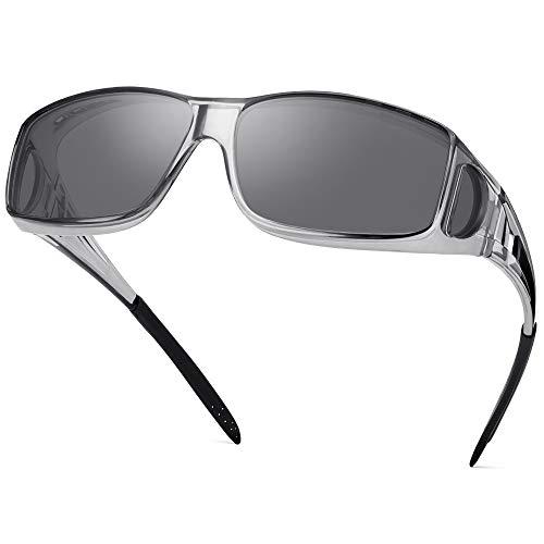 Polarized Sunglasses Fit Over Glasses for Men Women, Wrap Around Sunglasses Over Prescription Glasses UV400 Protection (Transparent Grey Frame/Grey...
