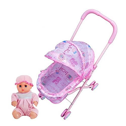 Muñeca cochecito Mini Simulación de la muñeca del cochecito con las aficiones de la muñeca del niño Los juegos de simulación de muebles de juguete cochecito de bebé Cochecito para niños 1Ponga