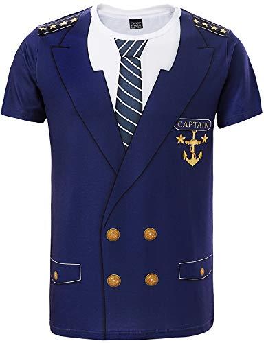 Funny World Men's Captain Costume T-Shirts (M, Blue)