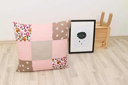 ULLENBOOM ® patchwork kussenhoes l 60x60 cm l katoenen kussensloop voor sierkussens in de kinderkamer en babykamer I zand eekhoorntjes