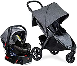 Britax B-Free Travel System with B-Safe Ultra Infant Car Seat - Birth to 65 Pounds   All Terrain Tires + Adjustable Handlebar + Extra Storage with Front Access + One Hand, Easy Fold, Vibe